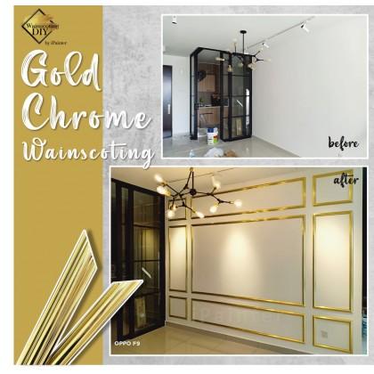 Gold Chrome 30mm Wainscoting Frame (Siap Potong)