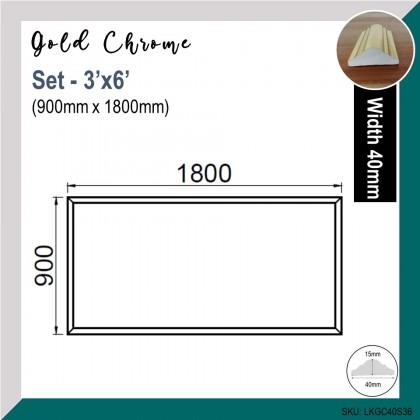 Gold Chrome 40mm Wainscoting Frame (Siap Potong)